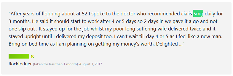 Another user, Rocktodger, also gave excellent points for Cialis 5mg daily